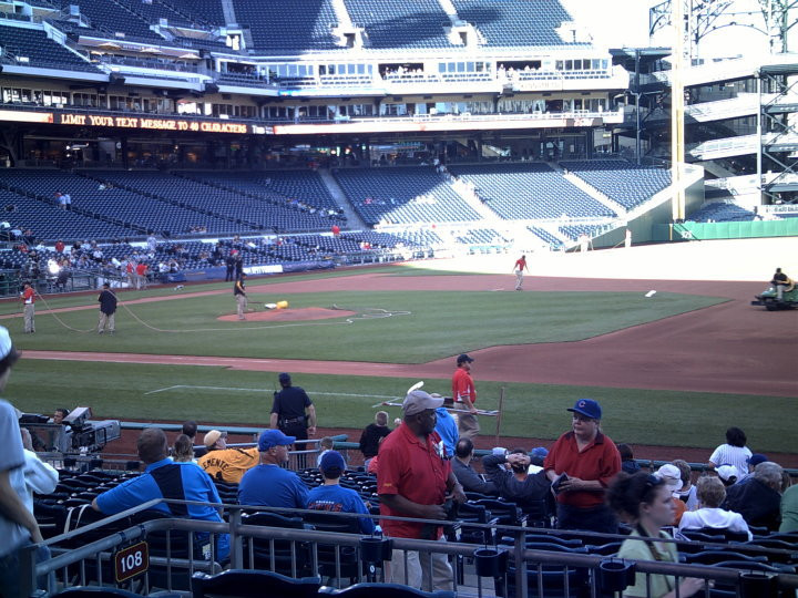 PNC Park grounds crew final touches before a Cubs/Pirates game in 2010.  Picture by PS Talbot.