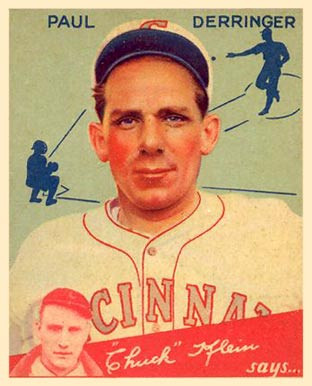 Paul Derringer baseball card. Public Domain, 1934.