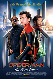 Spider-Man with not-exactly-Mysterio and not-exactly-Nick Fury. Spider-man Far From Home Poster, 2019.