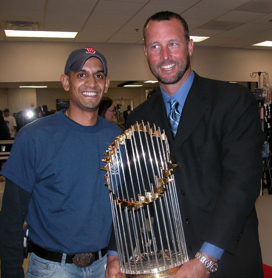 Tim Wakefield, 2004 World Series Trophy. Public Domain.