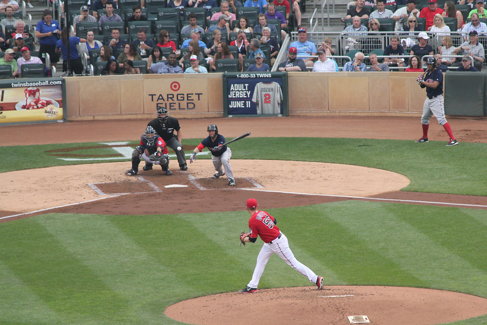 Pedroia getting one of his three hits.  He had two doubles on the day.  Picture by D.Talbot.