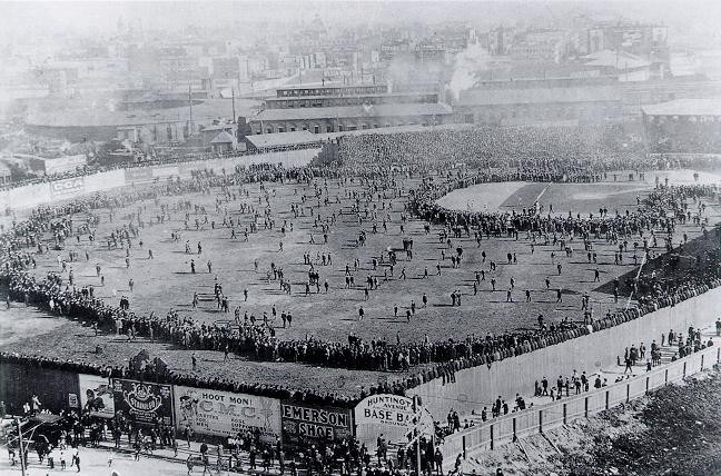 Unbeatable shift. 1903 World Series. Public Domain.