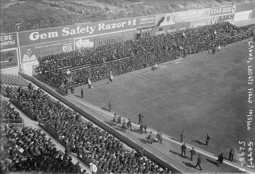 Overflow seating at Ebbets Field during the 1920 World Series. Public Domain.