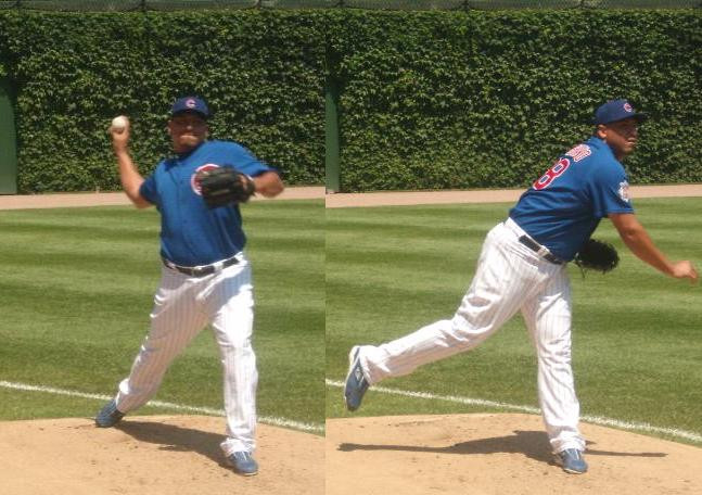Zambrano warming before a game at Wrigley Field in August 2008. Public Domain.