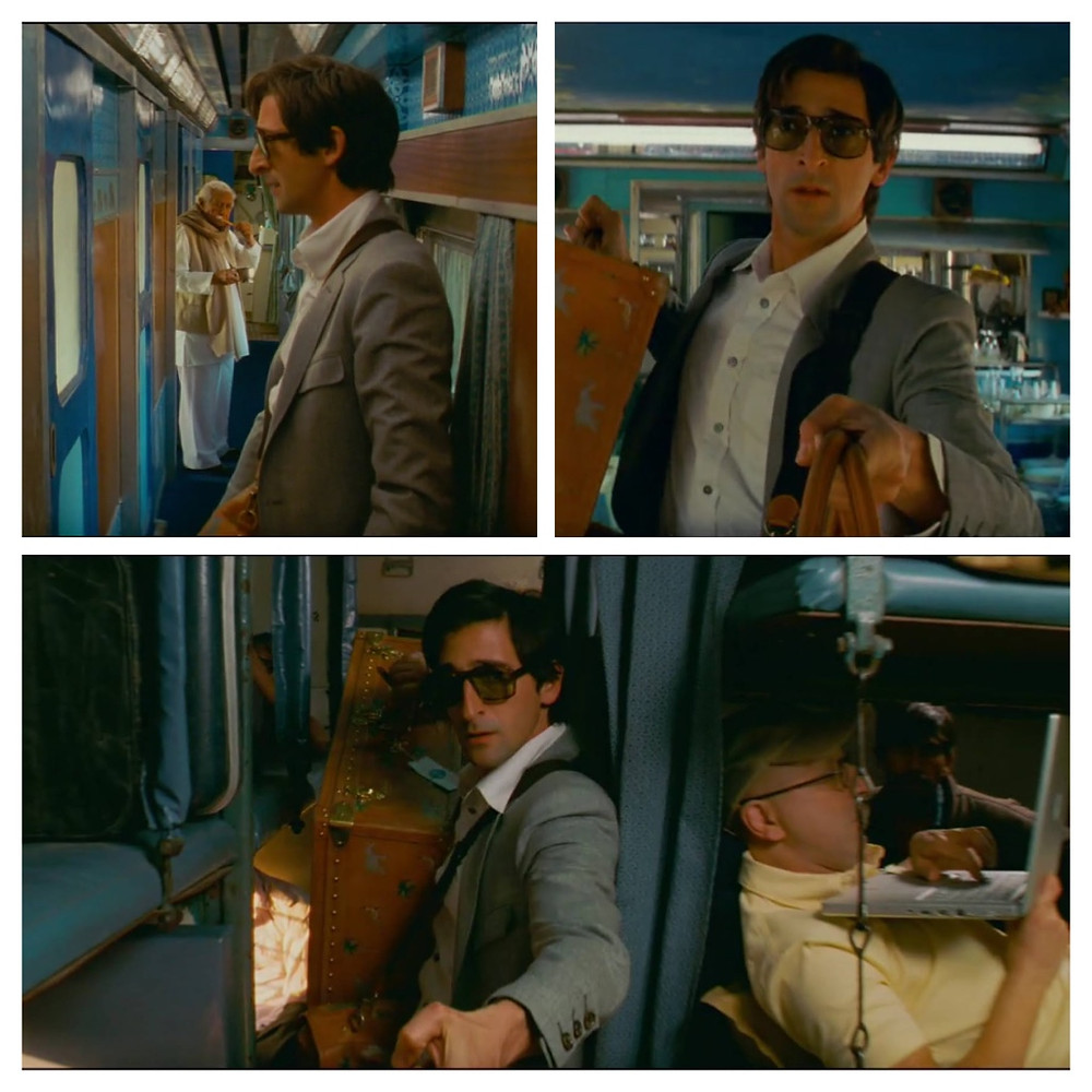 Adrian Brody's character walking through the Darjeeling Limited train at the opening of the film. Darjeeling Limited, 2007.