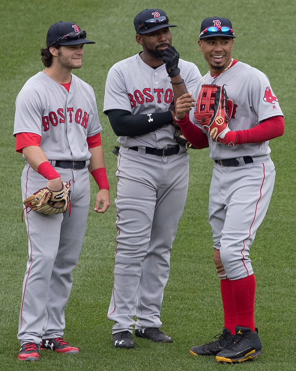 Benintendi, Bradley and Betts in an unusual shift. Picture by Keith Allison.