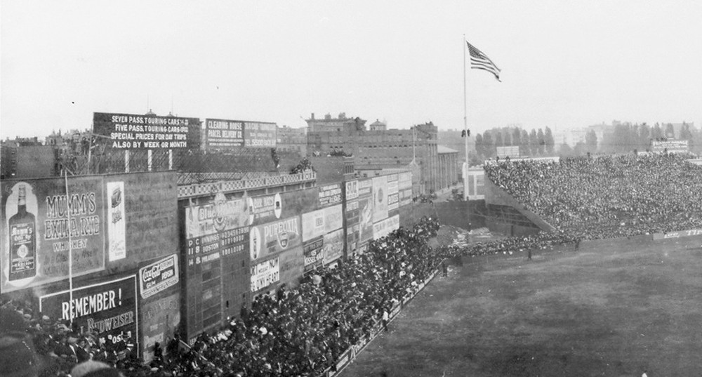 View of the Green Monster, Fenway Park, 1914. Public Domain.
