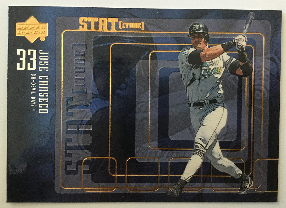 Jose Canseco, the common threat of excess before Moneyball and the Extra 2%. Upper Deck, 1999.