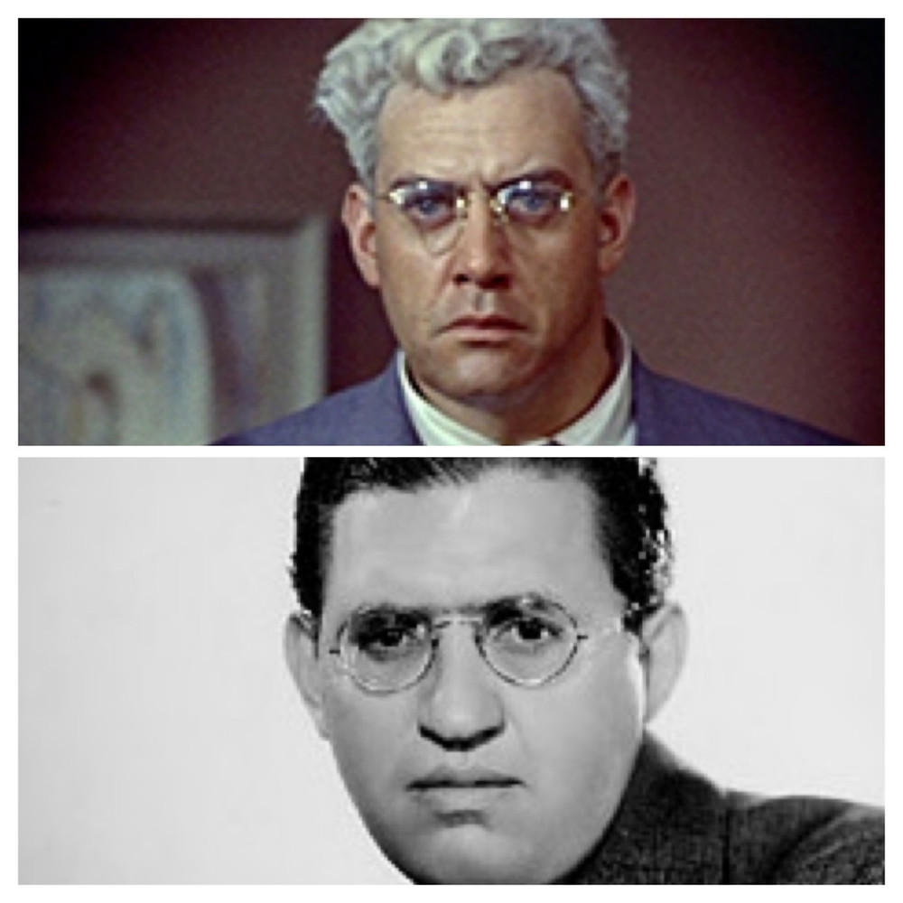 Raymond Burr in Rear Window on top, David O. Selznick on the bottom.
