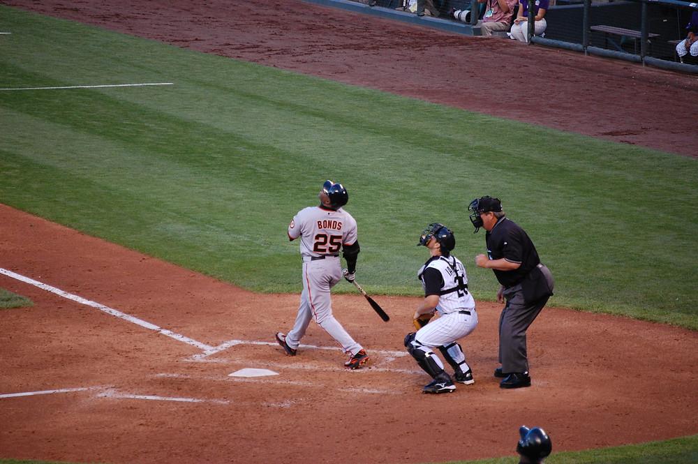 Bonds at bat in 2007. Public Domain.