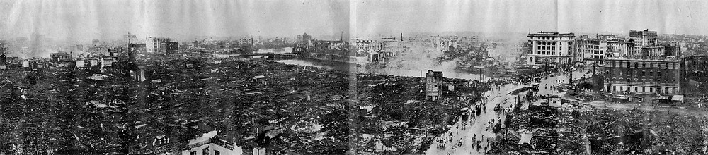 Desolation of Nihonbashi and Kanda seen from the Roof of Dai-ichi Sogo Buildi. Tokyo Earthquake, 1923. Public Domain.