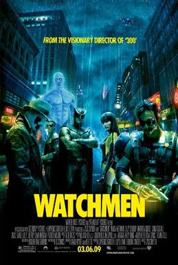 Dr. Manhattan, what's up with the shorts? Watchmen movie poster, 2009, Fair Use.