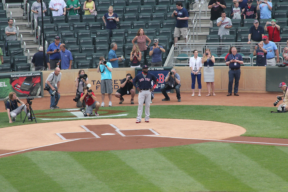 Twins pregame ceremony for David Ortiz where he was presented with a jar of peanut butter.  Picture by D.Talbot.