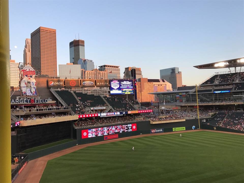Golden hour skyline view of Minneapolis from Target Field, by Bruce Valen.