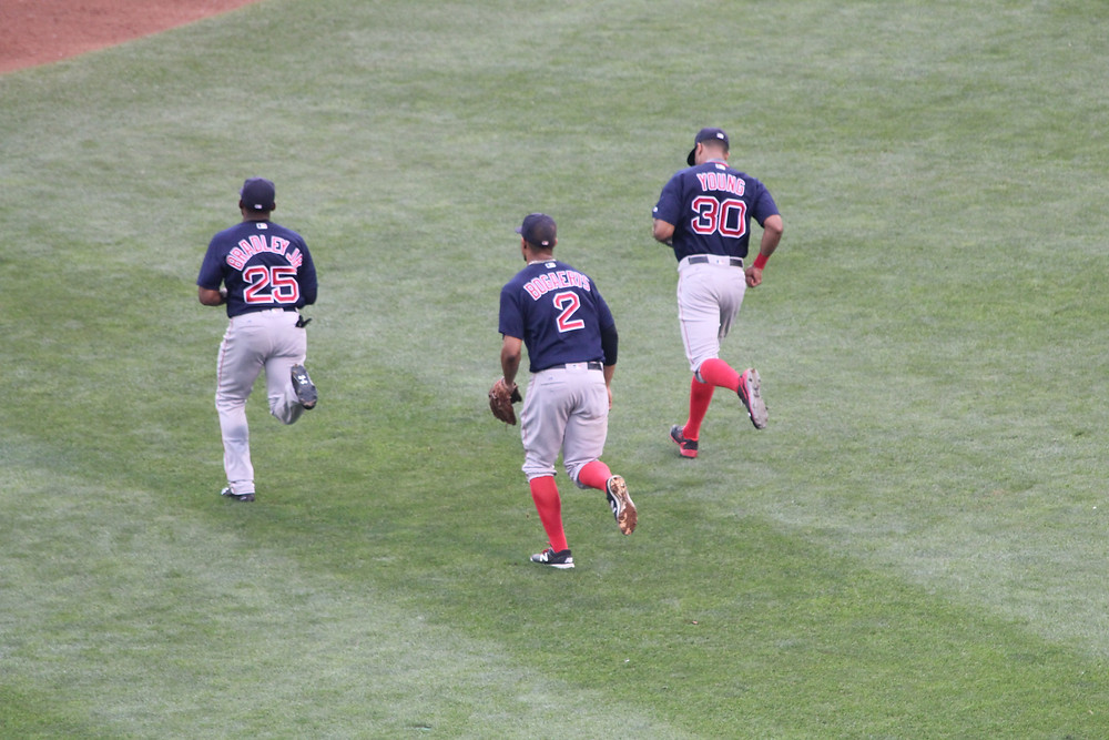 Bradley, Bogaerts and Young.  Picture by D.Talbot.