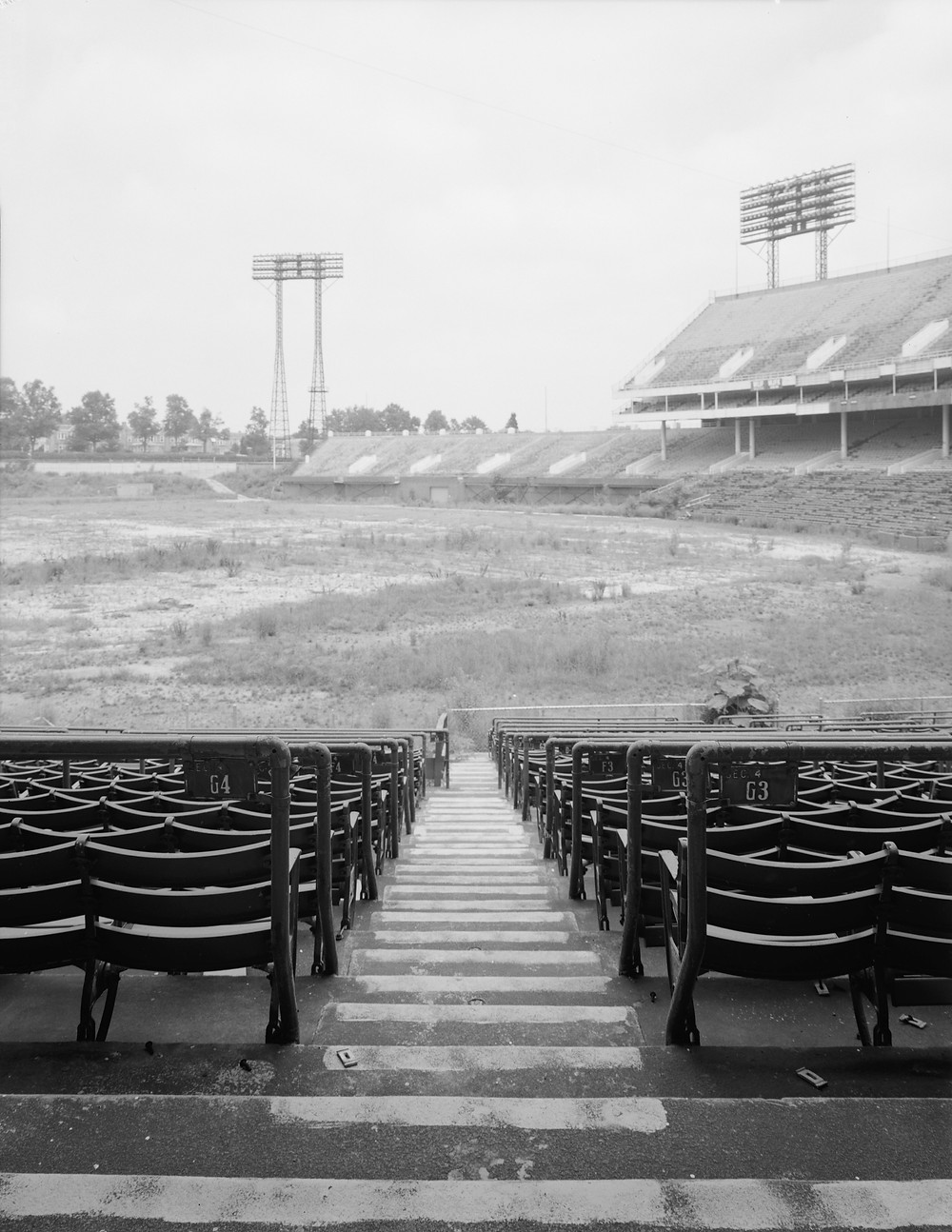 Memorial Stadium in Baltimore. Some time after abandonment. Public Domain.