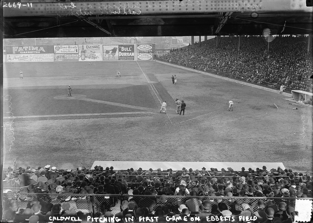 The first game at Ebbets Field, 1913. Public Domain.