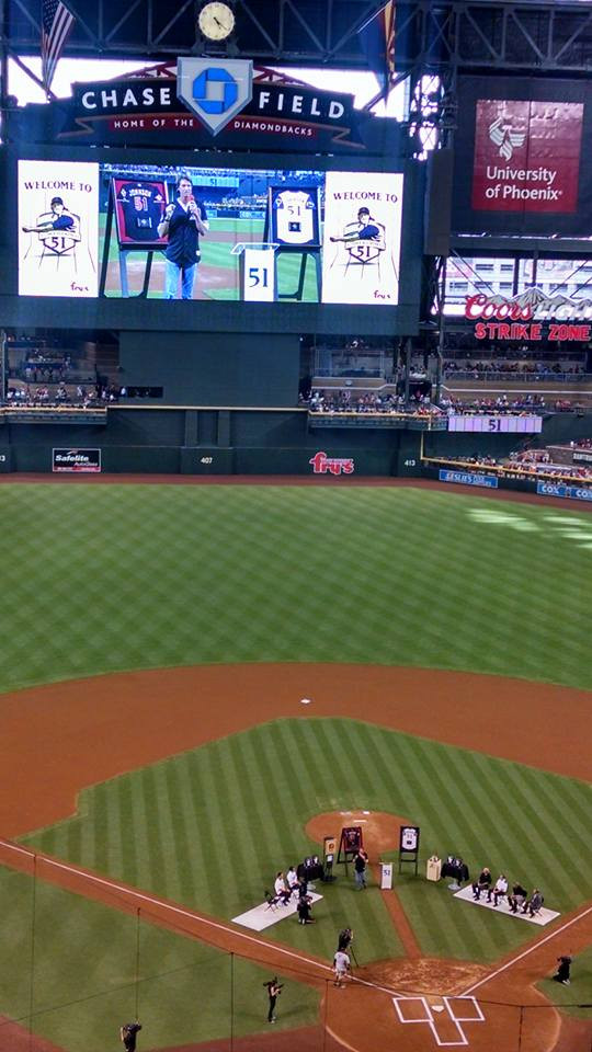 Randy Johnson retired number at Chase Field, August 2015.  Picture by PS Talbot.