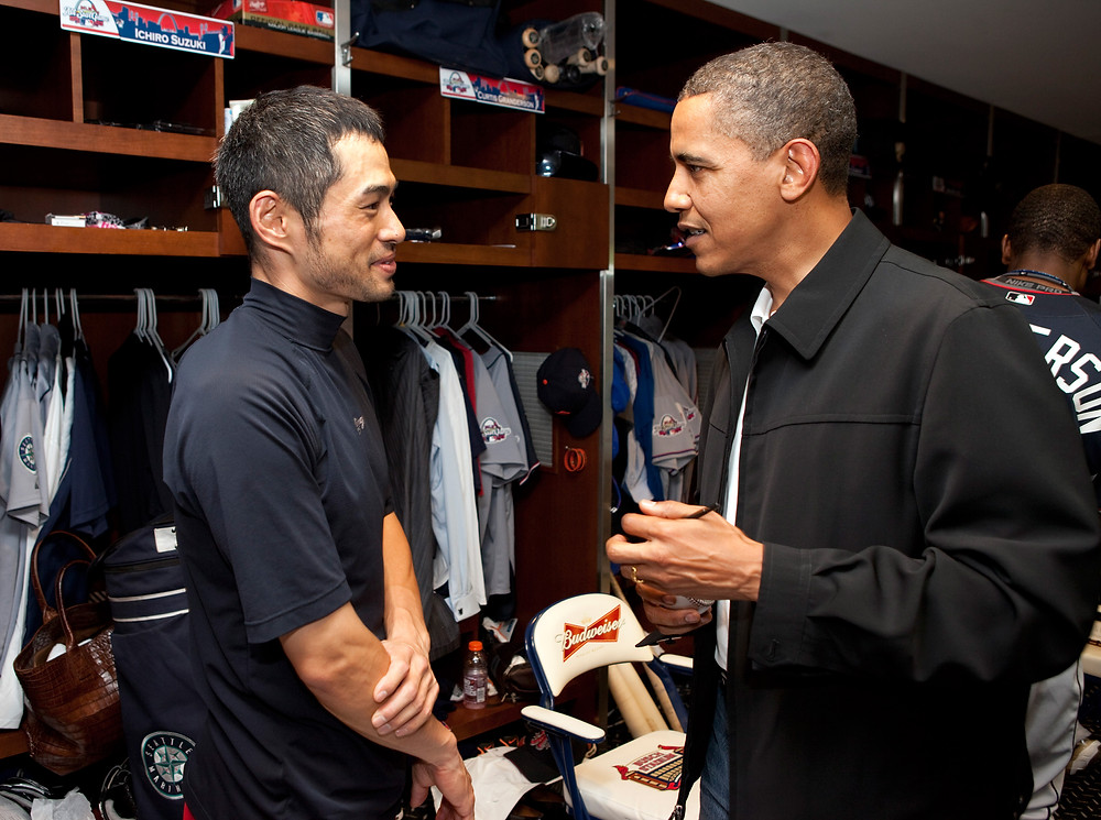 That's about right. Ichiro and Obama. Official White House Photo by Pete Souza, 2009. Public Domain.