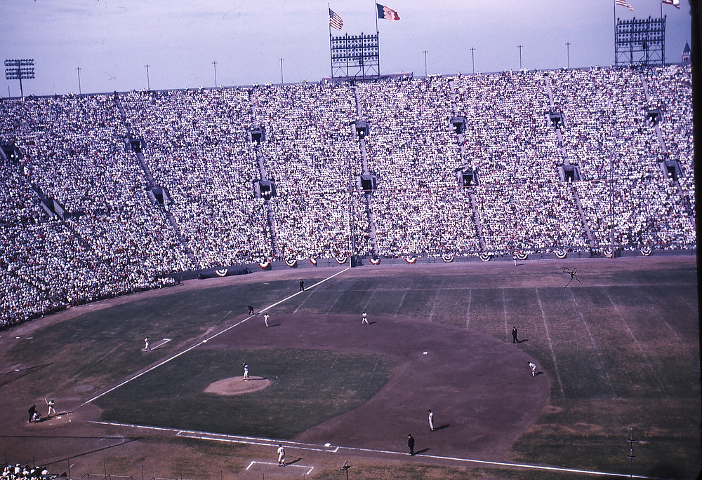 1959 World Series at the LA Coliseum. Public Domain.