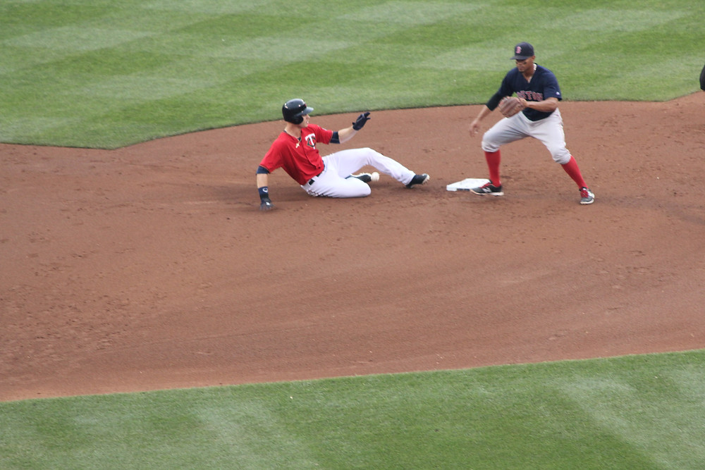 Bogaerts and unknown white Twins player.  Probably Max Kepler?  Picture by D.Talbot.