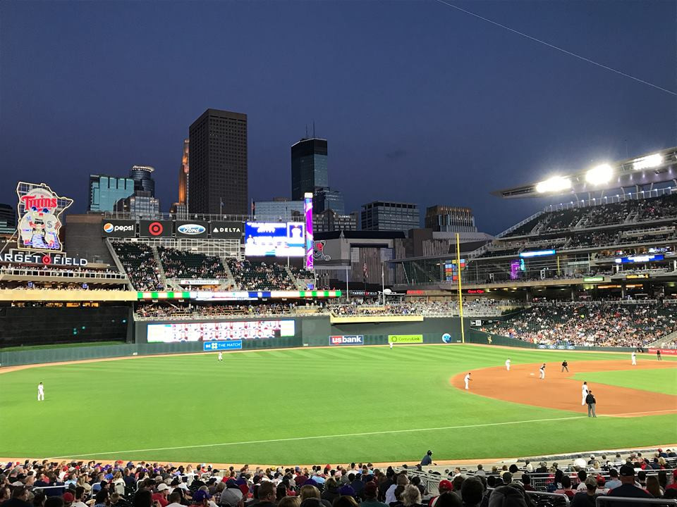 Night skyline of Minneapolis from Target Field, by Bruce Valen.