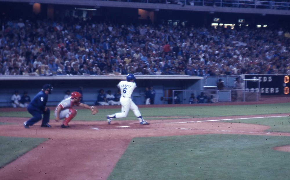 He hits one for the mistress. Steve Garvey hits in the 1970s against Cincinnati. Image by jvh33 of Flickr, from a 35mm slide.