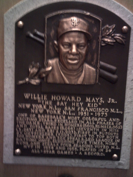 Willie Mays Hall of Fame plaque.  Cooperstown, NY, 2010.  PS Talbot