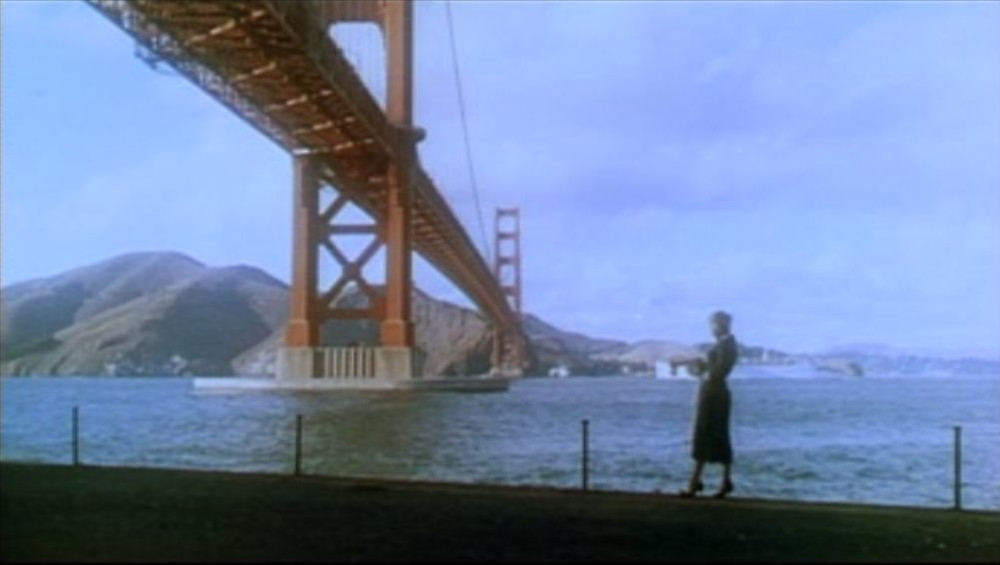 Vertigo trailer with Kim Novak at the Golden Gate Bridge. Public Domain, 1958.