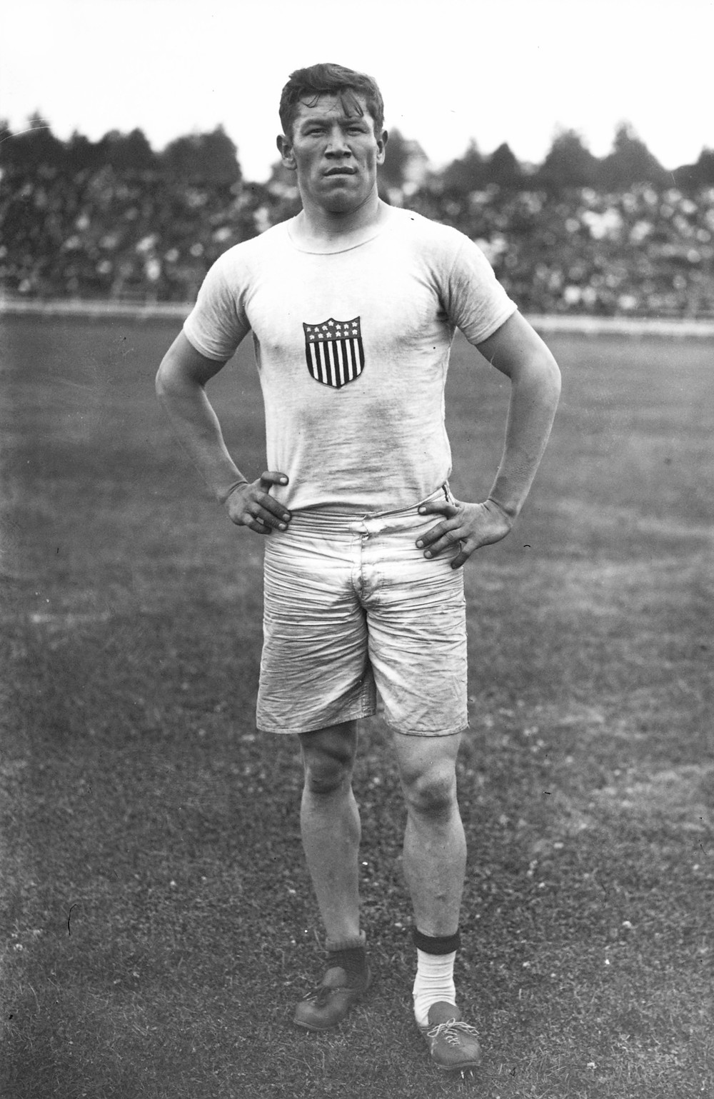 Jim Thorpe at the 1912 Summer Olympics in Stockholm. Public Domain.