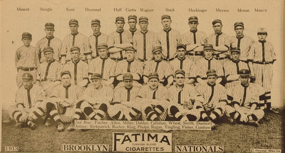 1913 Brooklyn Dodgers team picture. Public Domain.