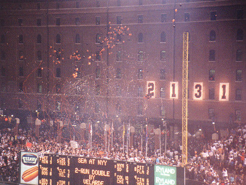 Cal Ripken breaks the all-time consecutive games record in September '95. Public Domain.