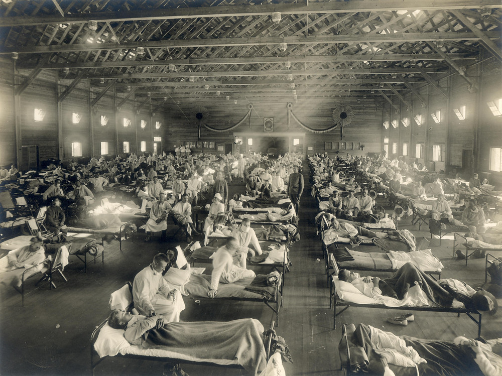 Emergency hospital for the Spanish flu at a US military base in Kansas, circa 1918.