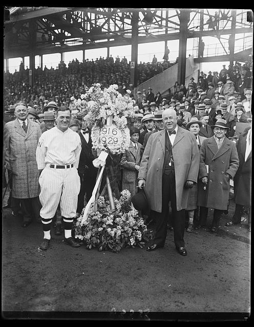 Joe Judge presented with a laurel and hearty handshake by the Elks, 1929. Public Domain.