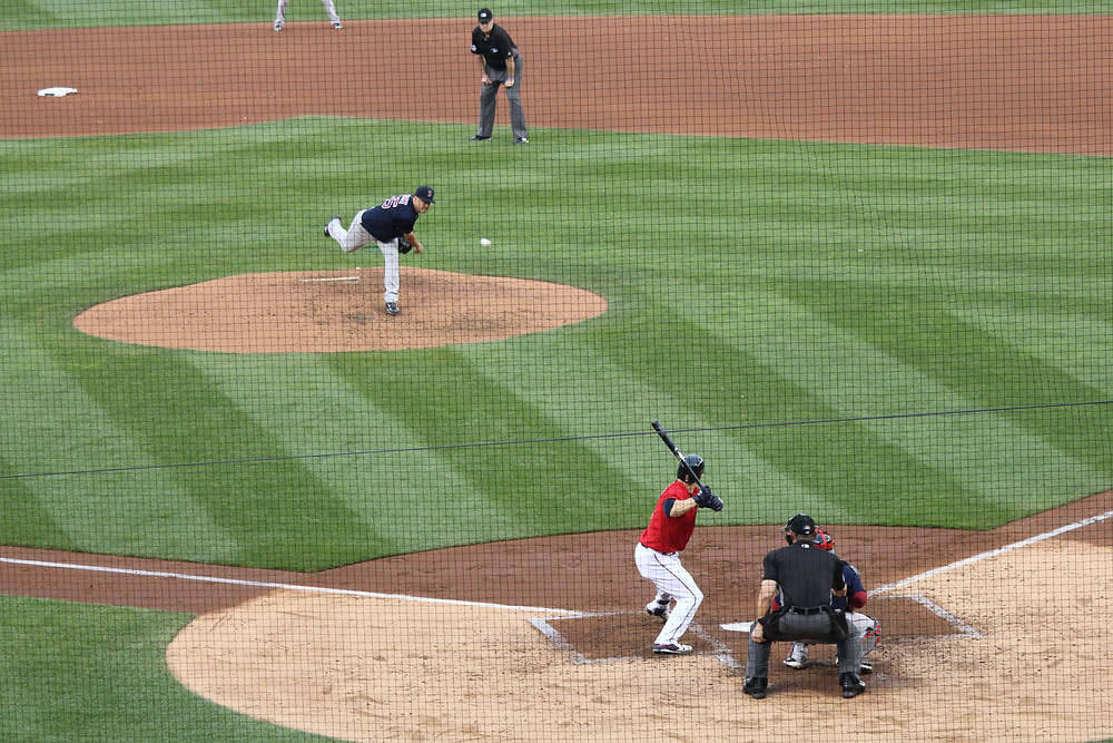 Steven Wright dealing against the Twins.  Picture by D.Talbot.