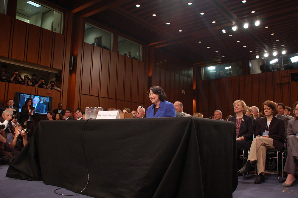 Sonia Sotomayor at her confirmation hearing in 2009. Public Domain.