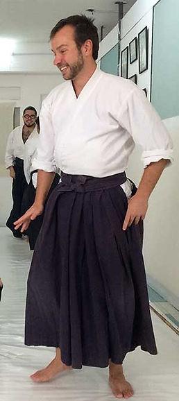Información sobre el instructor principal del Tamashī to Kokoro Dojo en San Miguel de Allende, México, Carlos F. Chancellor, 2o Dan en Aikikai Aikido.