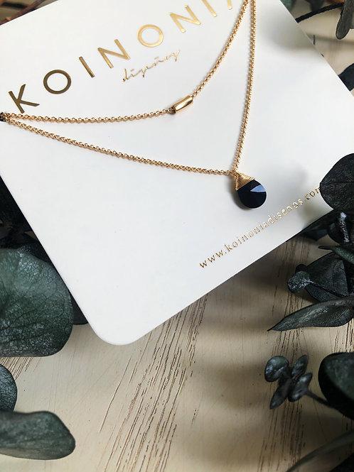Duo de collares gota negra y cilindro / Oro laminado de 18k