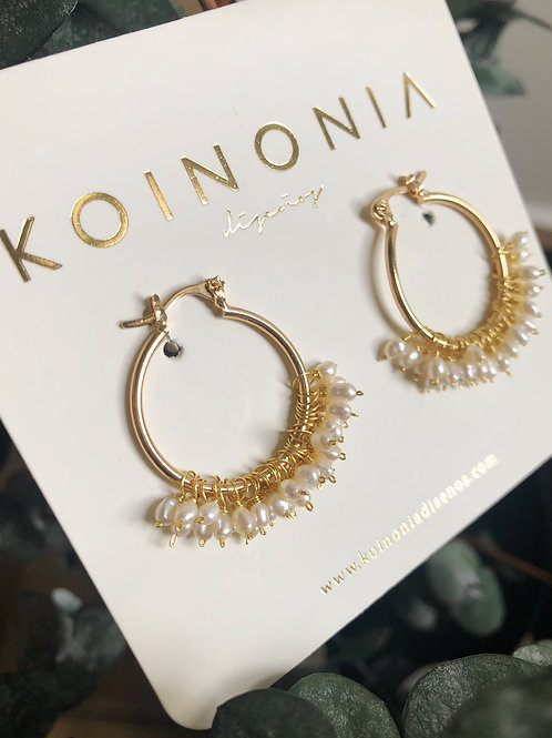 Arracada AURORA perlas colgantes / Oro laminado