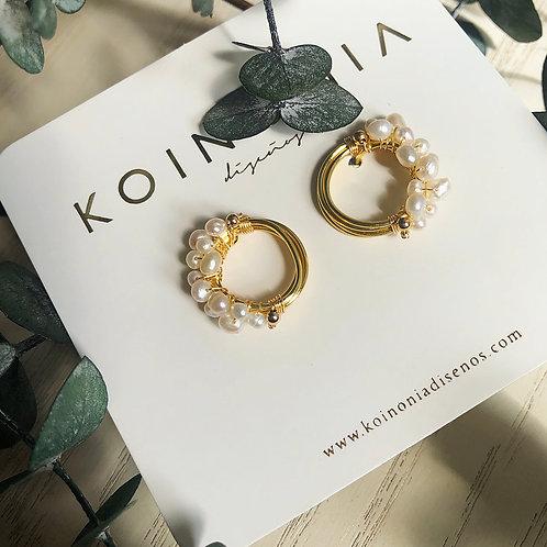 Arete nido de perlas / Oro laminado 18k