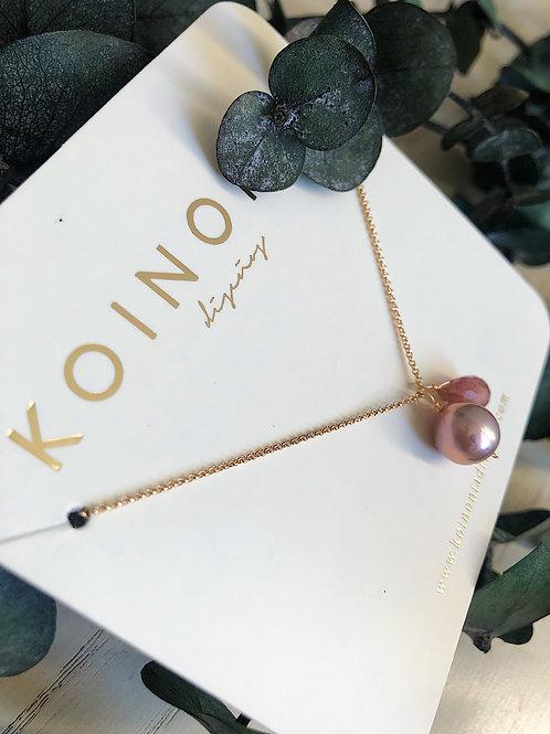 Collar 2 dijes de perla y cuarzo / Oro laminado 18k