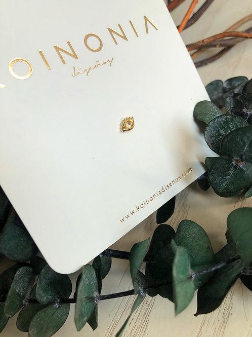 Broquel ojito con zirconia / oro 10k