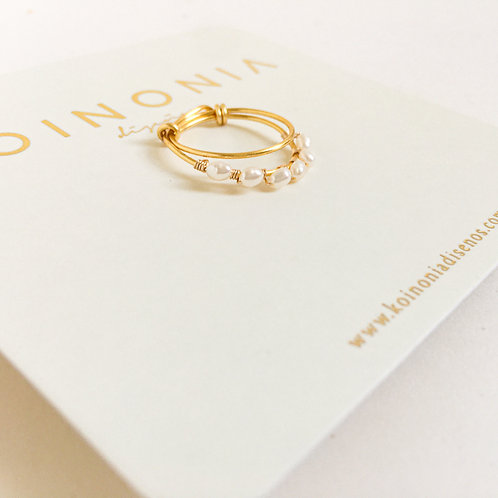 Anillo perlas naturales / Oro laminado