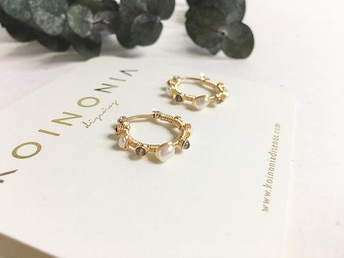 Arracada estela revestida en perla y cuarzo - / Oro laminado 18k