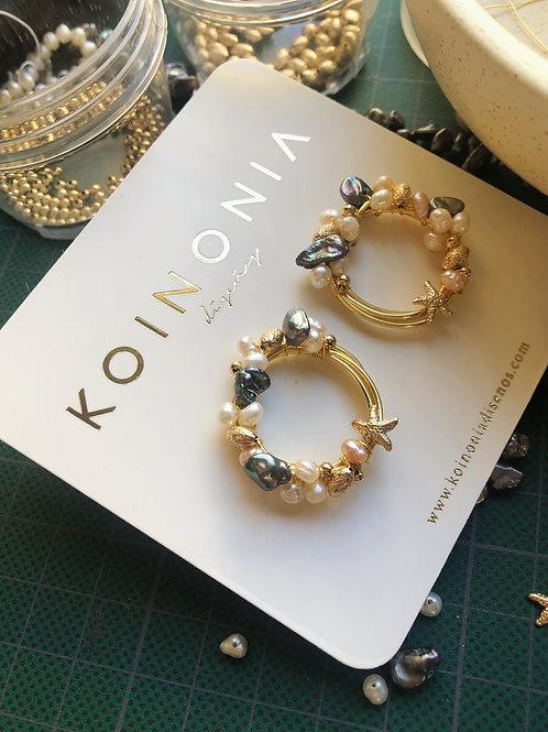 Arete perlas y estrella de mar / Oro laminado 18k