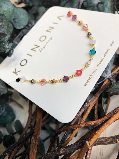 Choker-collar cristales y perlas swarovki / Oro laminado