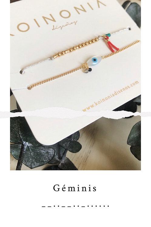 GÉMINIS - código morse / Oro laminado