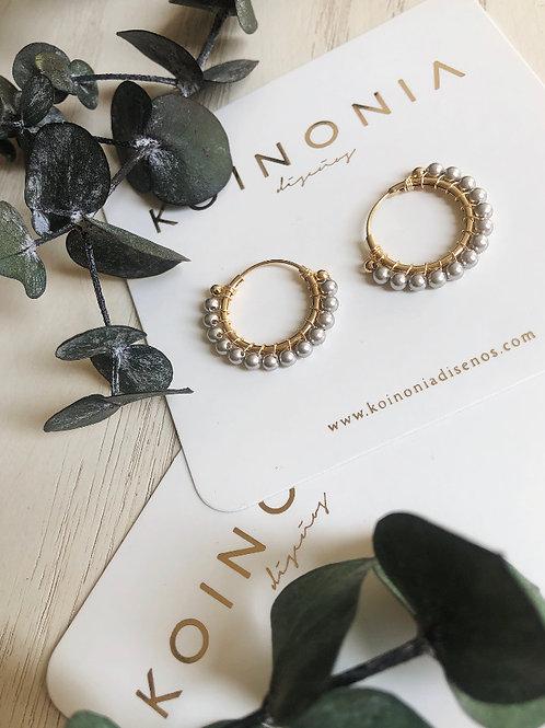 Arracada AMBER perla plata (swarovki) / Oro laminado