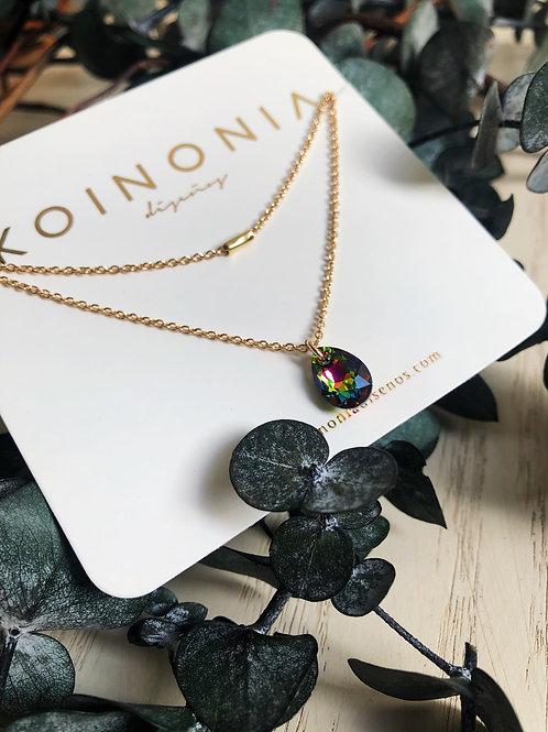 Duo de collares gota multicolor  y cilindro  / Oro laminado de 18k