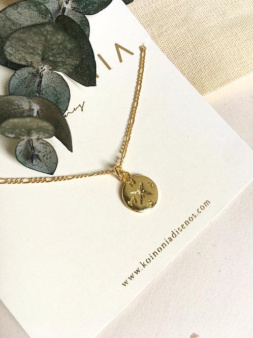 Collar FLOR de los vientos / Oro lamino de 18k